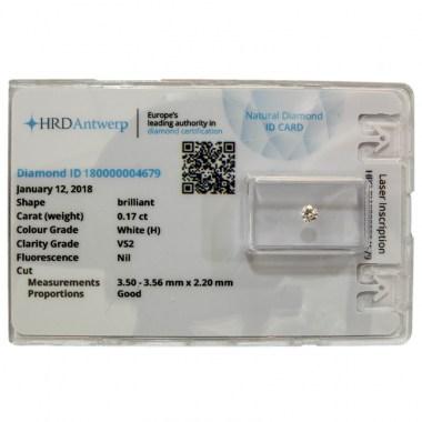 Diamante HRD certificado 0,17ct H VS2