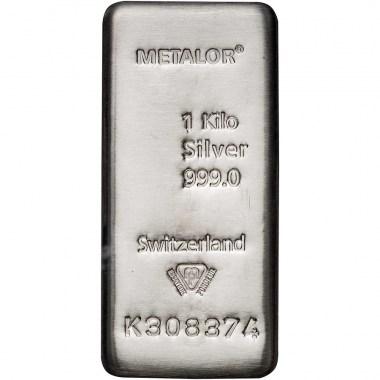 Lingote de Plata Metalor de 1kg