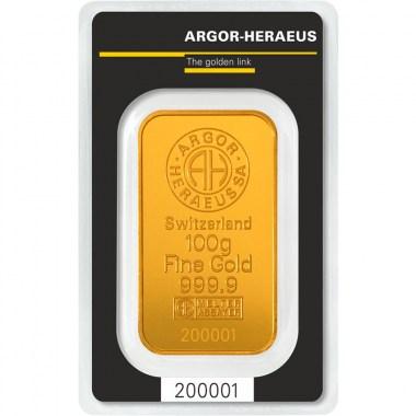 Lingote de Oro Argor-Heraeus Classic de 100g
