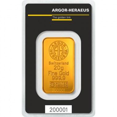 Lingote de Oro Argor-Heraeus Classic de 20g