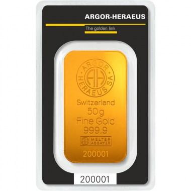 Lingote de Oro Argor-Heraeus Classic de 50g