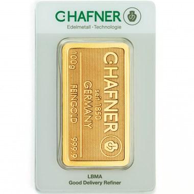 Lingote de Oro C Hafner de 100g