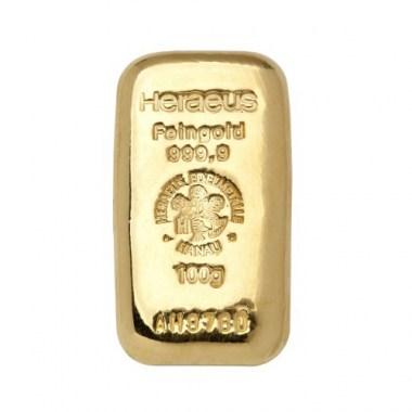 Lingote de Oro Heraeus Cast de 100g