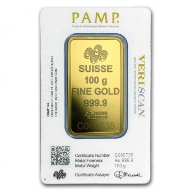 Lingote de Oro PAMP Fortune de 100g blister