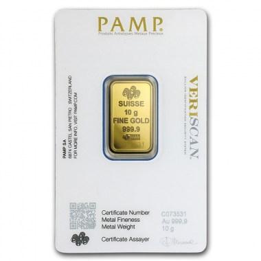 Lingote de Oro PAMP Fortune de 10g blister