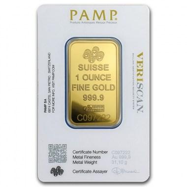 Lingote de Oro PAMP Fortune de 1oz blister