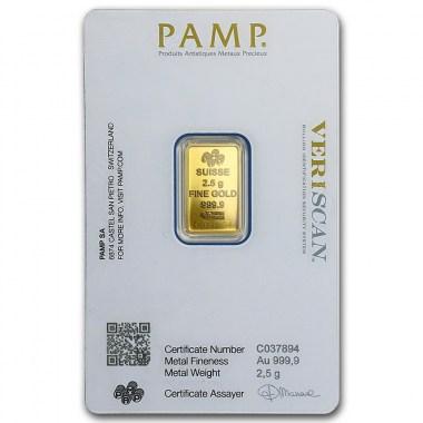 Lingote de Oro PAMP Fortune de 2,5g blister