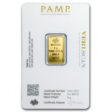 Lingote de Oro PAMP Fortune de 5g blister