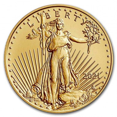 Moneda de Oro American Eagle Tipo 2 2021 1/10 oz reverse