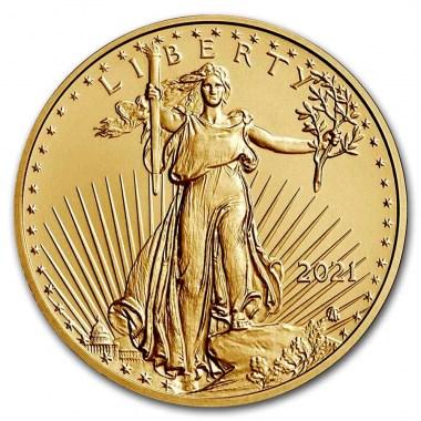 Moneda de Oro American Eagle Tipo 2 2021 1/4 oz reverse