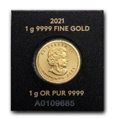 Moneda de Oro MapleGram de Canadá 2021 1 g