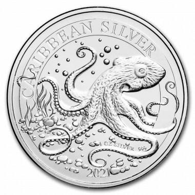 Moneda de Plata Pulpo Caribeño de Barbados 2021 1 oz