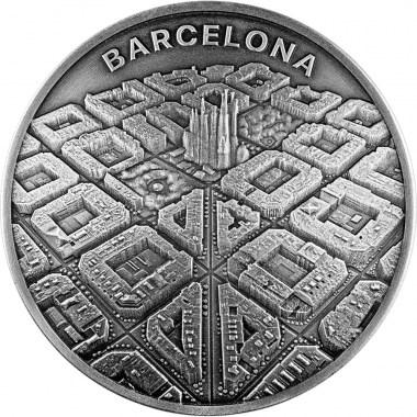 Moneda de Plata Barcelona A vista de Dron 2021 2 oz