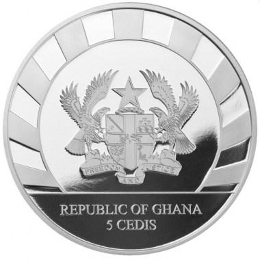 Moneda de Plata Rinoceronte Lanudo de Ghana 2021 1 oz