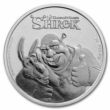 Moneda de Plata 20 aniversario de Shrek 2021 1 oz