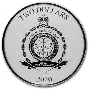 Moneda de Plata Star Wars Mandalorian Mythosaurio de Niue 2020 1 oz
