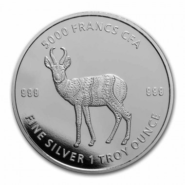 Moneda de Plata Antílope Mandala de República de Chad 2021 1 oz