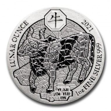 Moneda de Plata Lunar del Buey de Ruanda 2021 1 oz