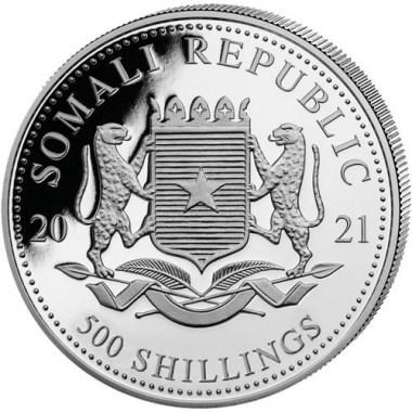 Moneda de Plata Elefante de Somalia 2021 5 oz