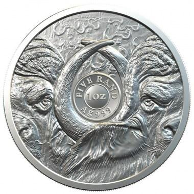 Moneda de Plata Big Five Búfalo de Sudáfrica 2021 1 oz