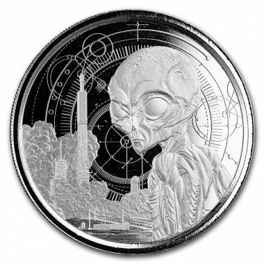 Moneda de Plata Alíen de Ghana 2021 1 oz