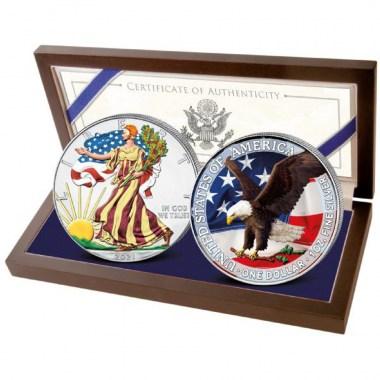 Set 2 Monedas de Plata American Eagle 1 oz 2021 Tipo 1 y 2 Coloreadas