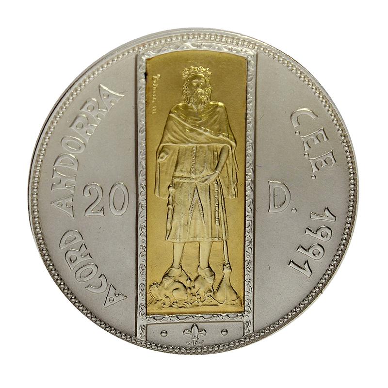 Moneda Andorra 20 Diners Oro y Plata 1994 26,73 g