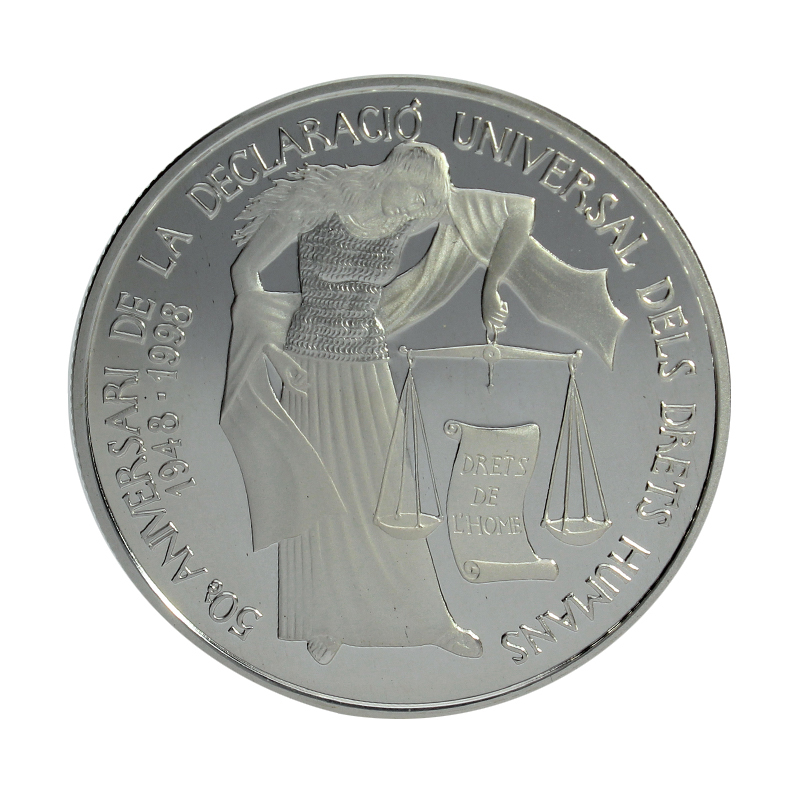 Moneda Andorra 10 Diners Plata 1998 31,49 g
