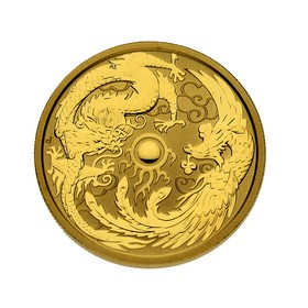 Moneda Australia 100 Dollars Dragón y Fénix Oro 2018 1 oz