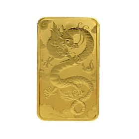 Moneda Australia 100 Dollars Dragón Rectangular Oro 2019 1 oz