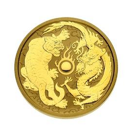 Moneda Australia 100 Dollars Dragón y Tigre Oro 2019 1 oz