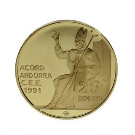 Moneda Andorra 25 Diners Oro 1995 7,78 g