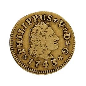 Moneda España 1/2 Escudo Oro 1743 Madrid JA 1,72 g
