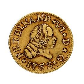 Moneda España 1/2 Escudo Oro 1753 Sevilla PJ 1,76 g