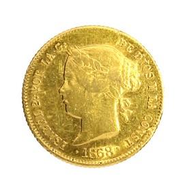 Moneda España 4 Pesos Oro 1868 Manila 6,72 g