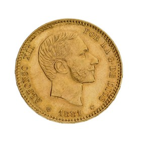 Moneda España 25 Pesetas Oro 1881 M MSM 8,08 g