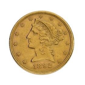 Moneda Estados Unidos 5 Dollars Oro 1892 8,34 g