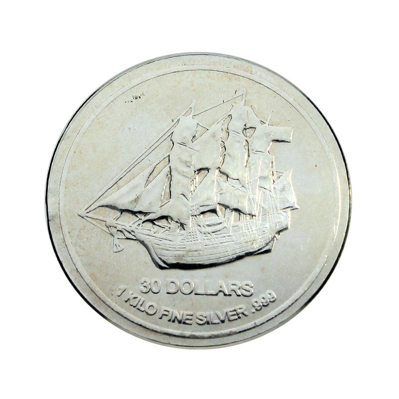 Lote 5 Monedas de Plata de 1 Kilo 30 Dollars